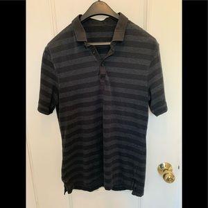 Lululemon black and grey striped polo shirt.Size M